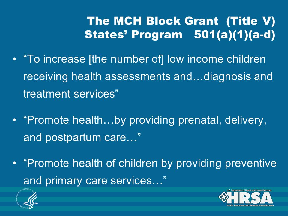The MCH Block Grant (Title V) States' Program 501(a)(1)(a-d)