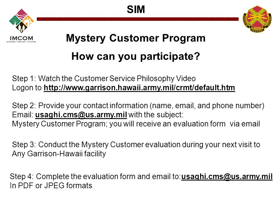 Mystery Customer Program How can you participate