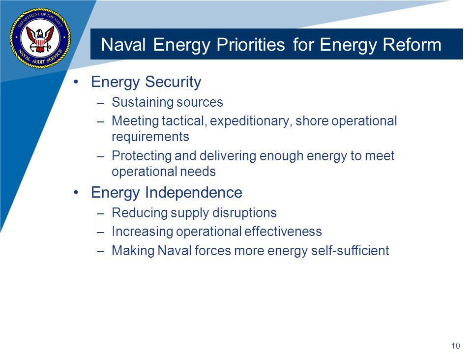 Naval Energy Priorities for Energy Reform