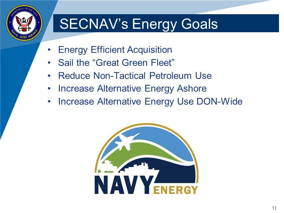 SECNAV's Energy Goals Energy Efficient Acquisition