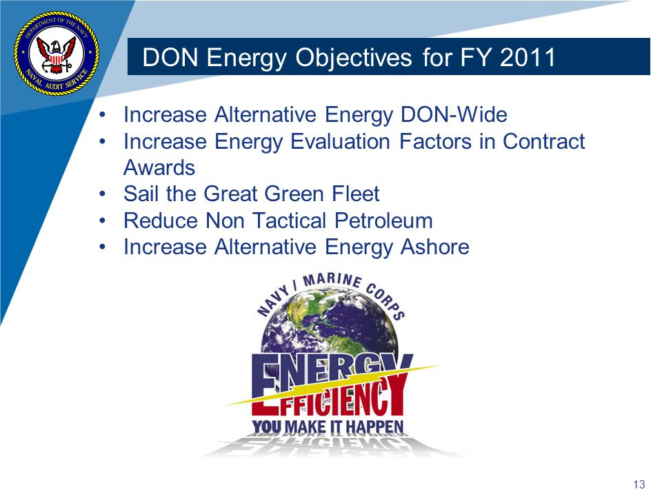 DON Energy Objectives for FY 2011