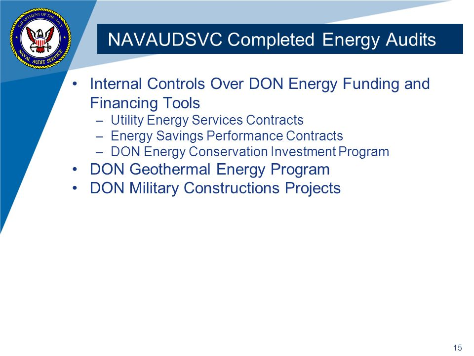 NAVAUDSVC Completed Energy Audits