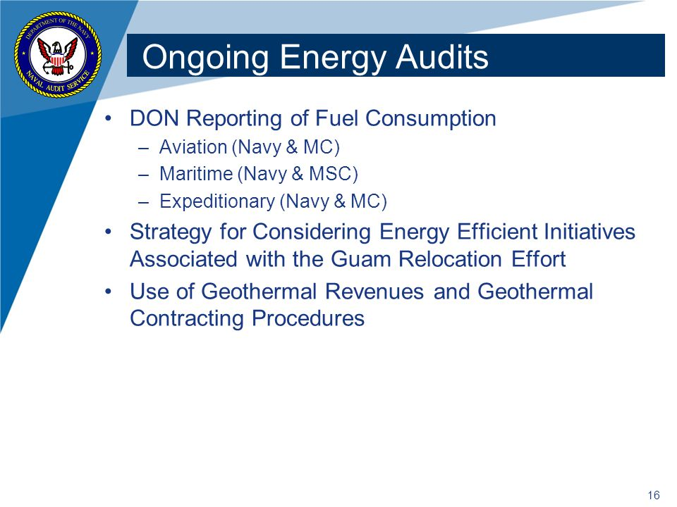 Ongoing Energy Audits DON Reporting of Fuel Consumption