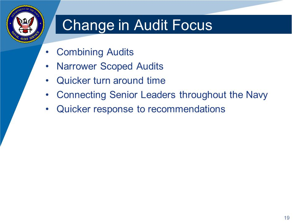 Change in Audit Focus Combining Audits Narrower Scoped Audits