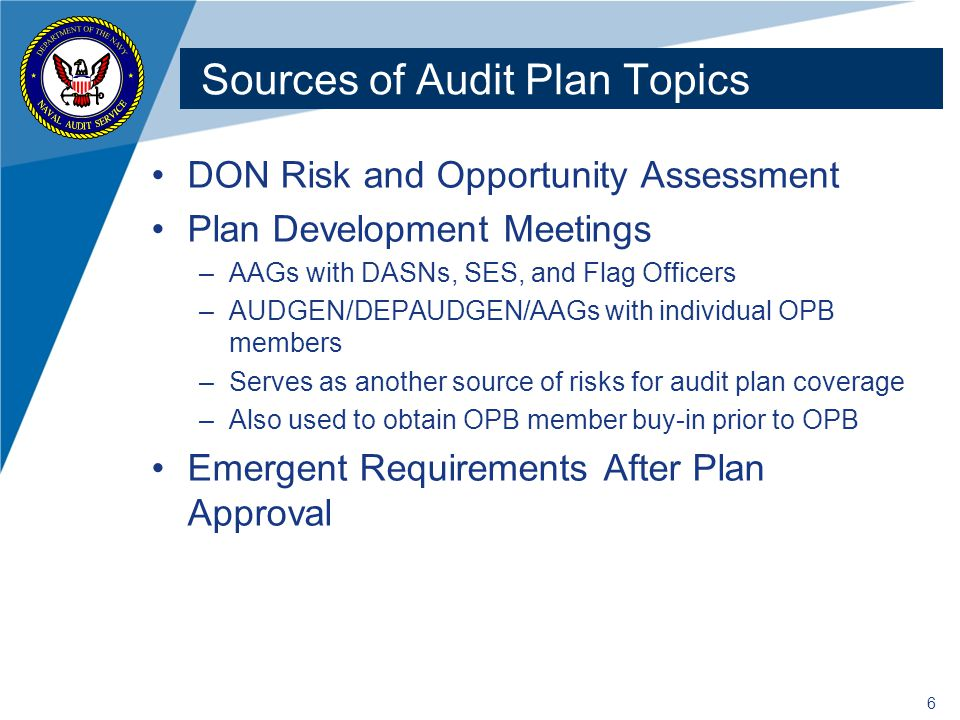 Sources of Audit Plan Topics