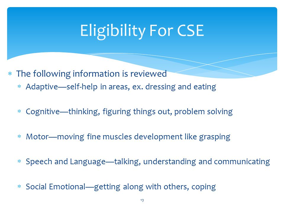 Eligibility For CSE The following information is reviewed
