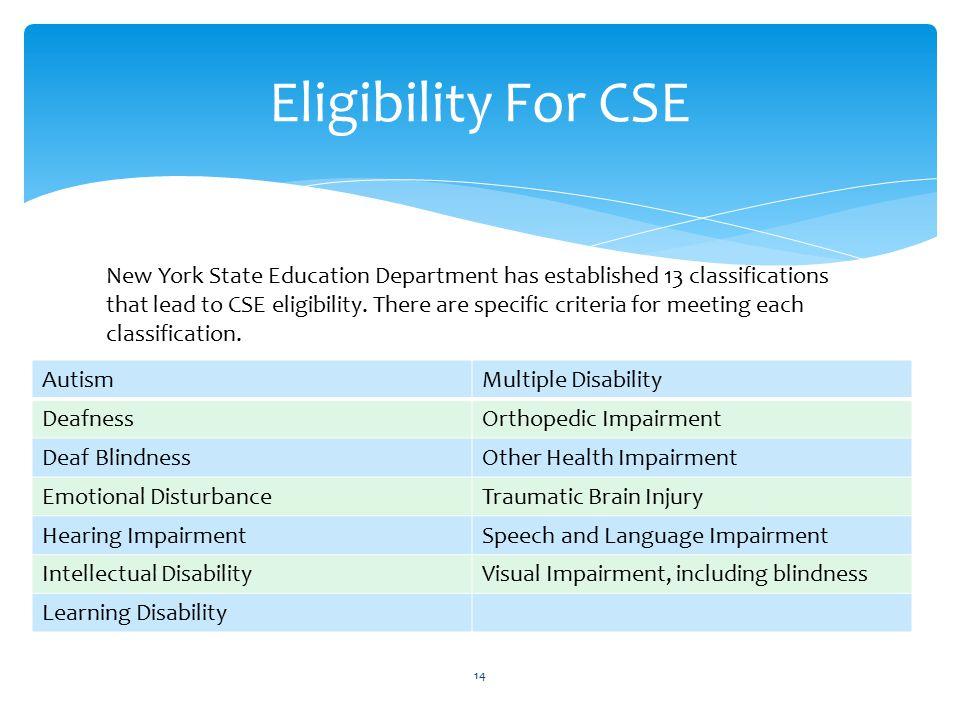 Eligibility For CSE