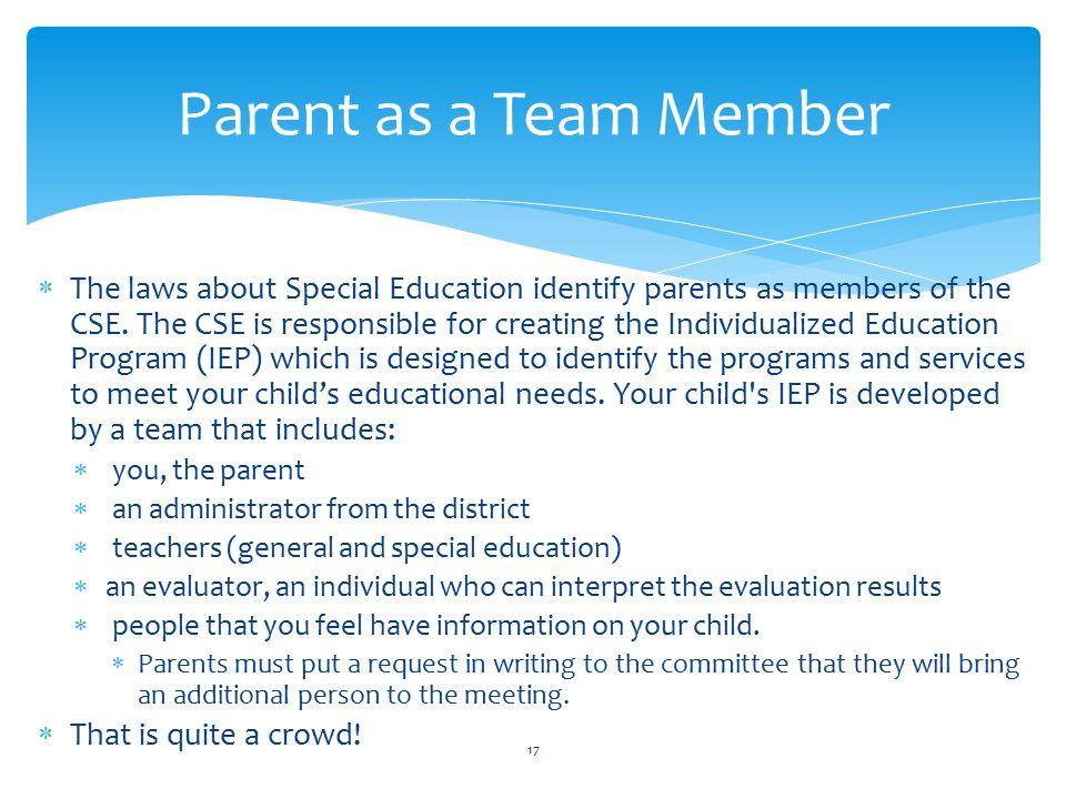 Parent as a Team Member