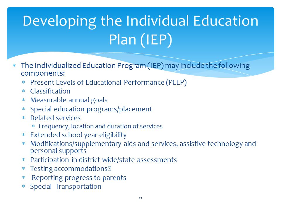 Developing the Individual Education Plan (IEP)