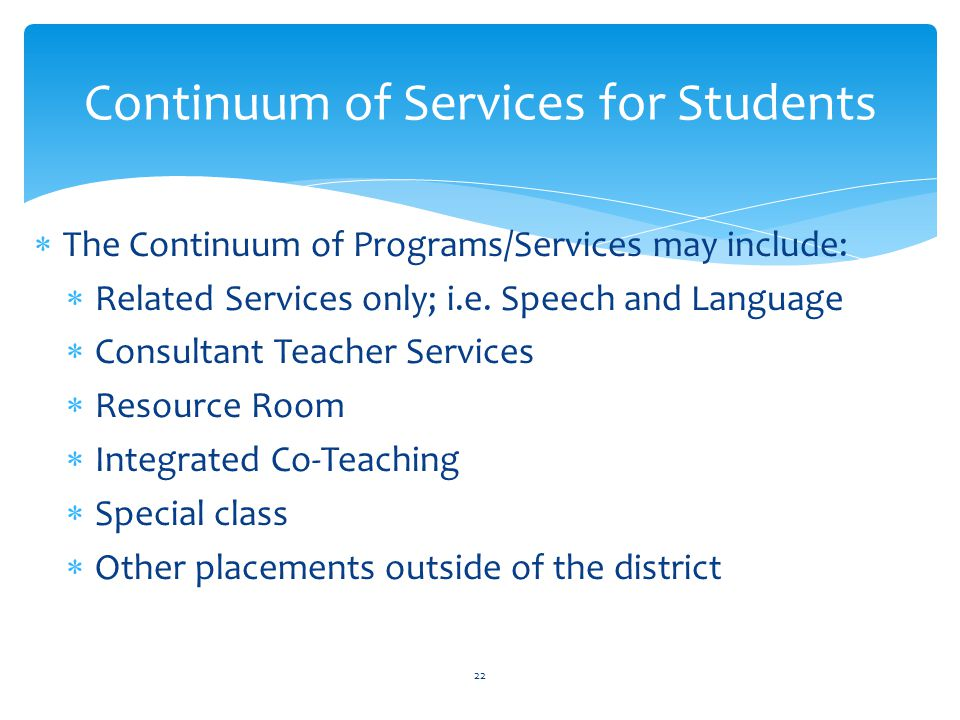 Continuum of Services for Students