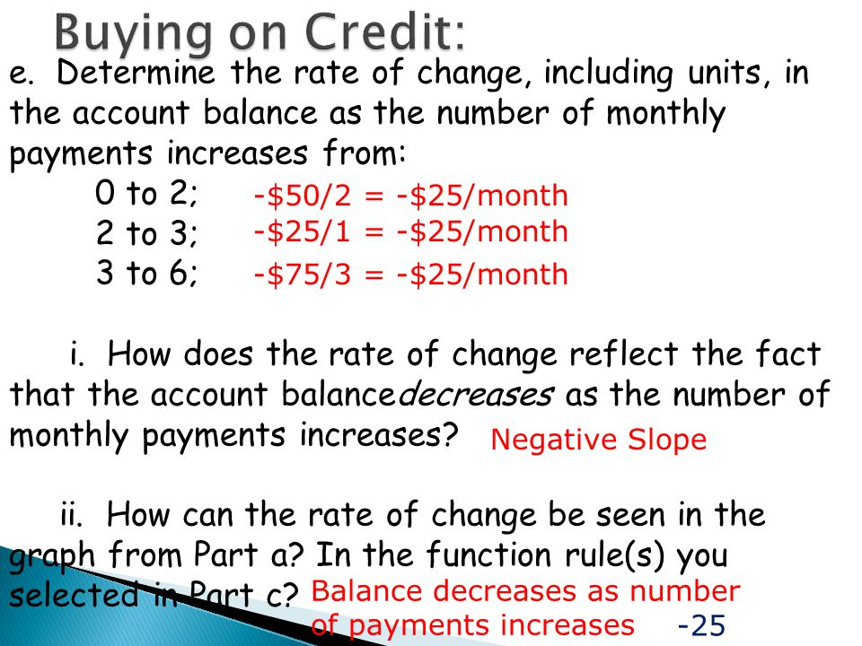 Buying on Credit: e. Determine the rate of change, including units, in the account balance as the number of monthly payments increases from: