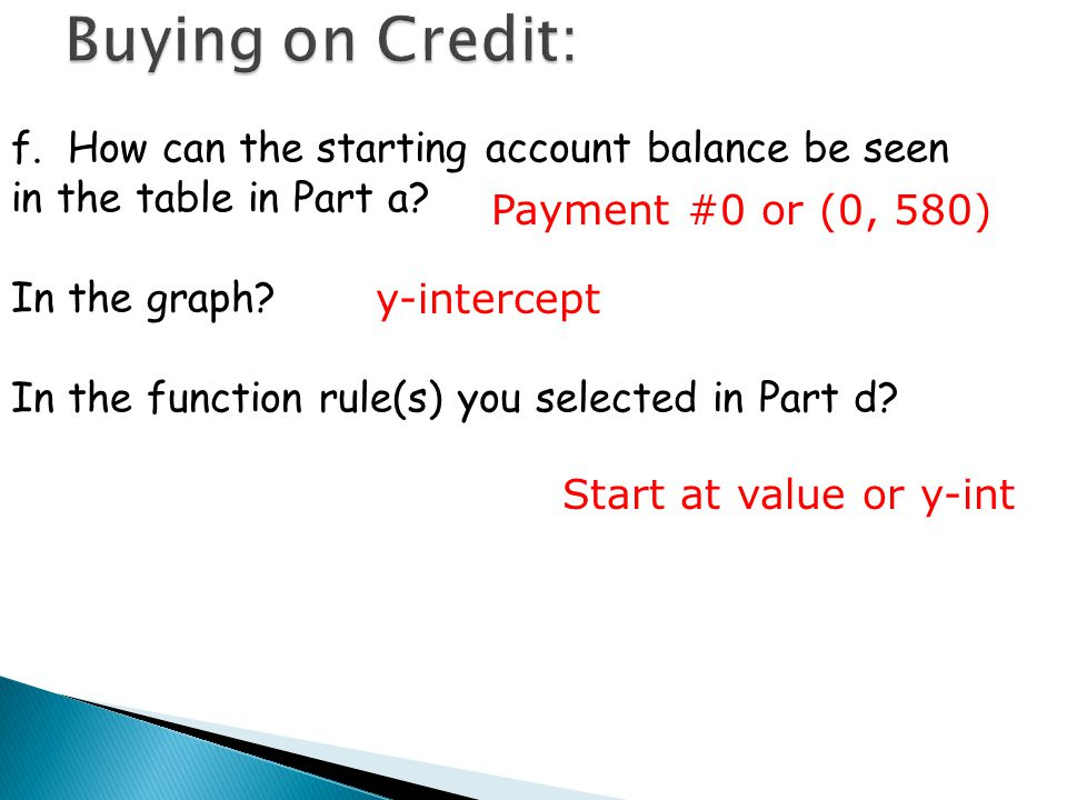 Buying on Credit: f. How can the starting account balance be seen in the table in Part a In the graph