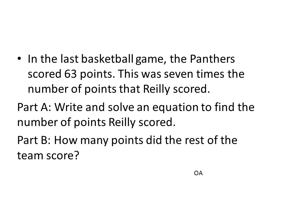Part B: How many points did the rest of the team score