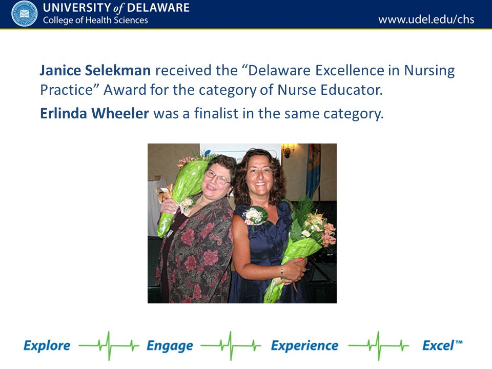 Janice Selekman received the Delaware Excellence in Nursing Practice Award for the category of Nurse Educator.