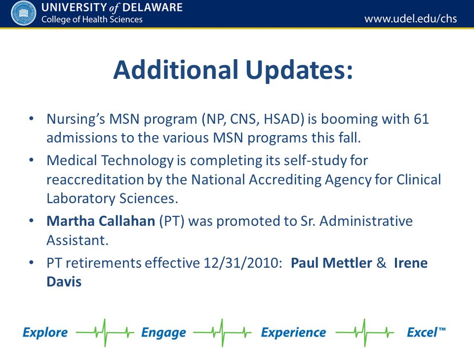 Additional Updates: Nursing's MSN program (NP, CNS, HSAD) is booming with 61 admissions to the various MSN programs this fall.