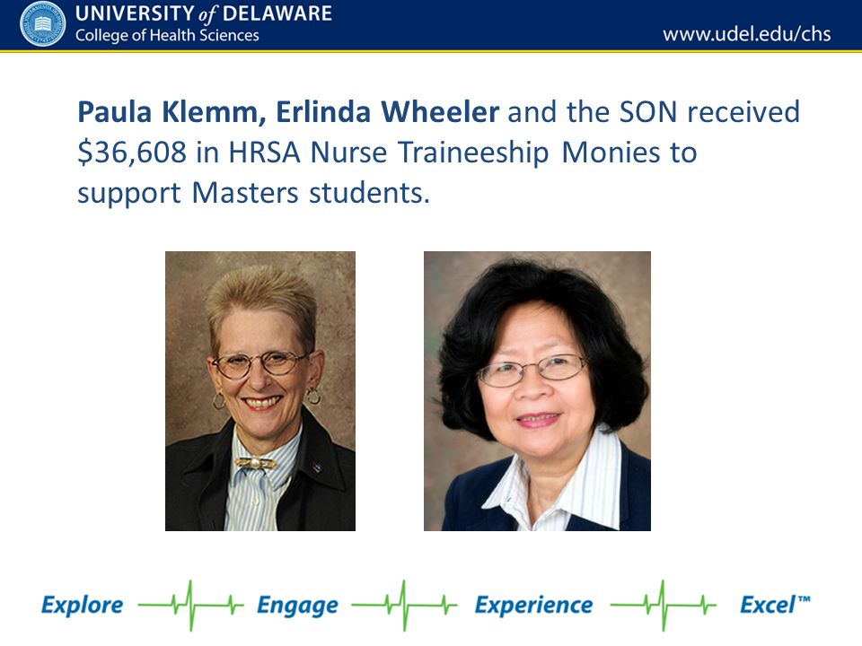 Paula Klemm, Erlinda Wheeler and the SON received $36,608 in HRSA Nurse Traineeship Monies to support Masters students.