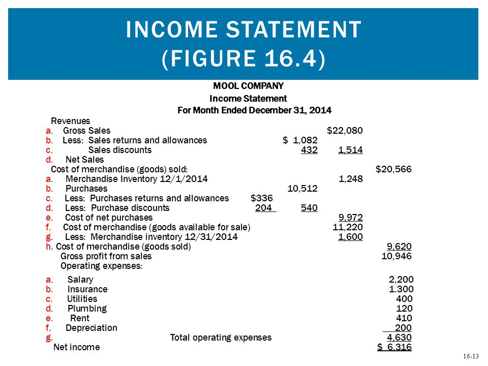 Income Statement (Figure 16.4)