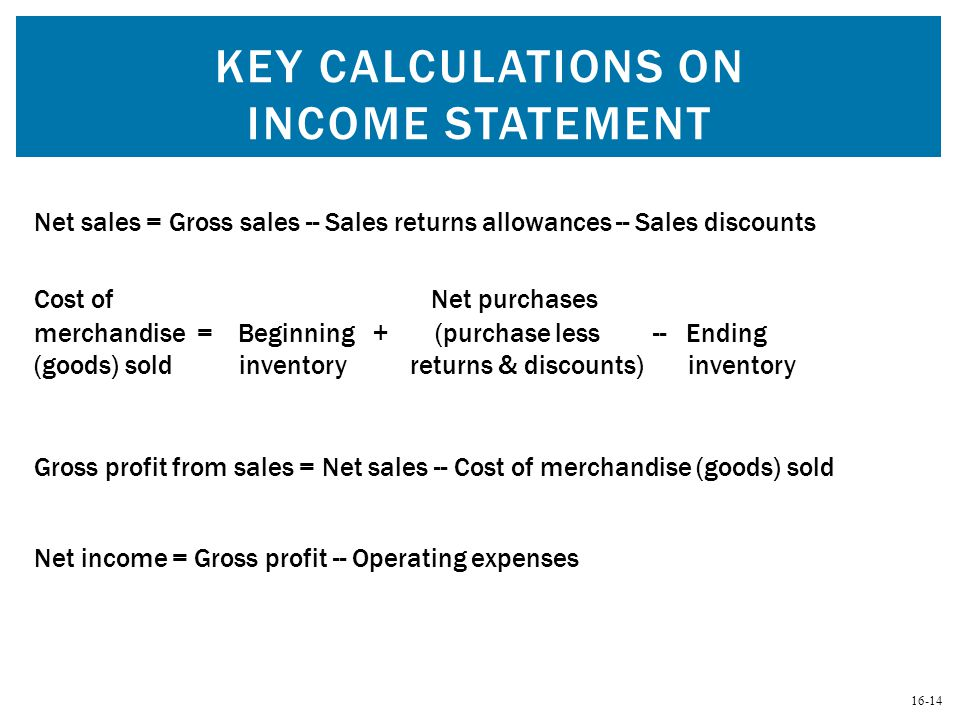 Key Calculations on Income Statement