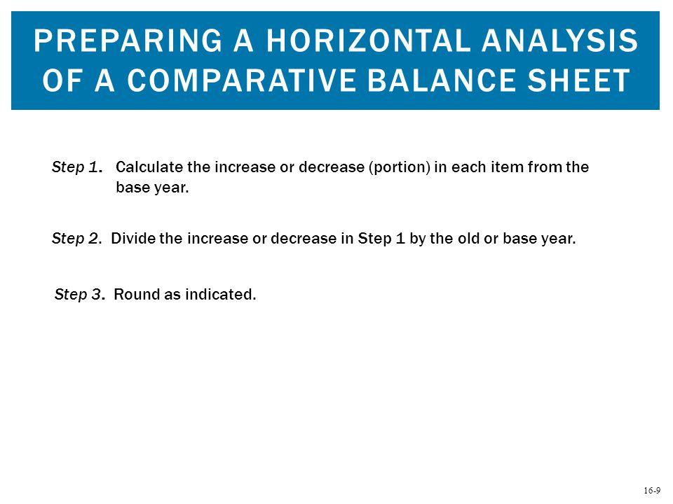 Preparing a Horizontal Analysis of a Comparative Balance Sheet