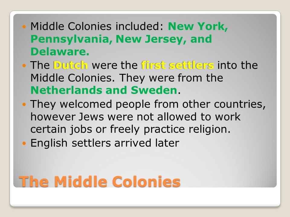 Middle Colonies included: New York, Pennsylvania, New Jersey, and Delaware.