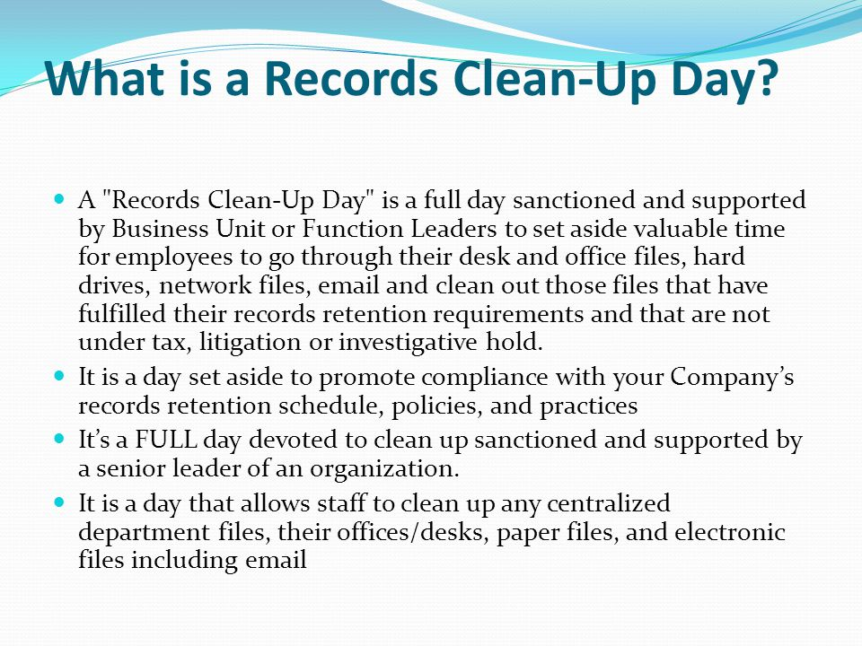 What is a Records Clean-Up Day