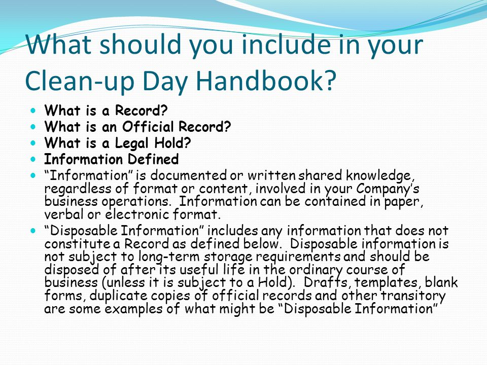 What should you include in your Clean-up Day Handbook