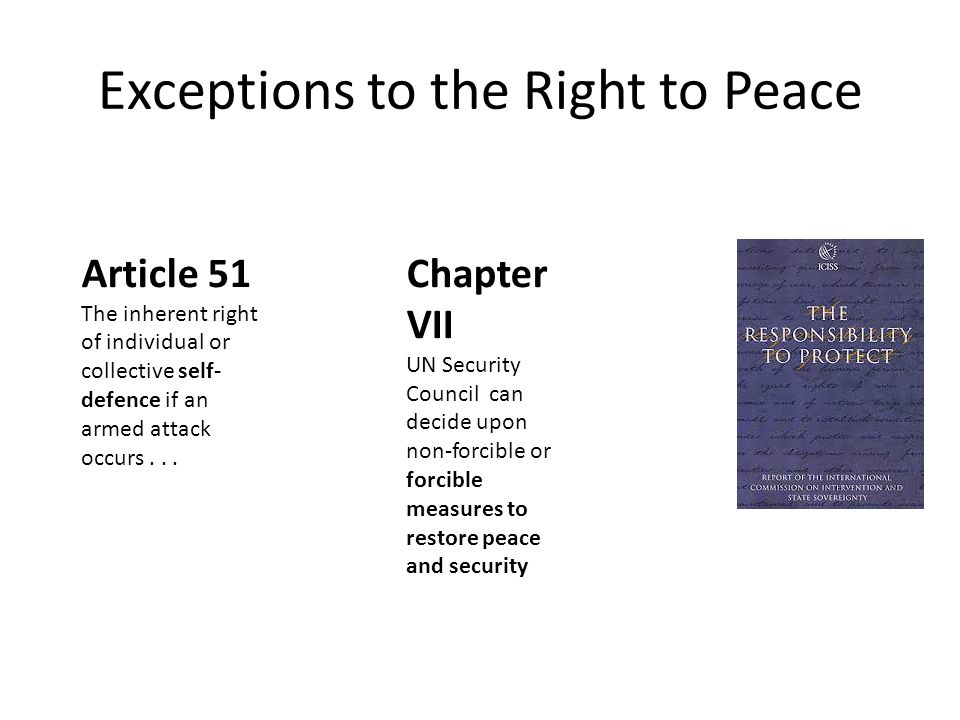 Exceptions to the Right to Peace