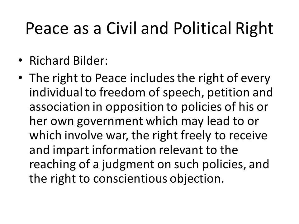 Peace as a Civil and Political Right