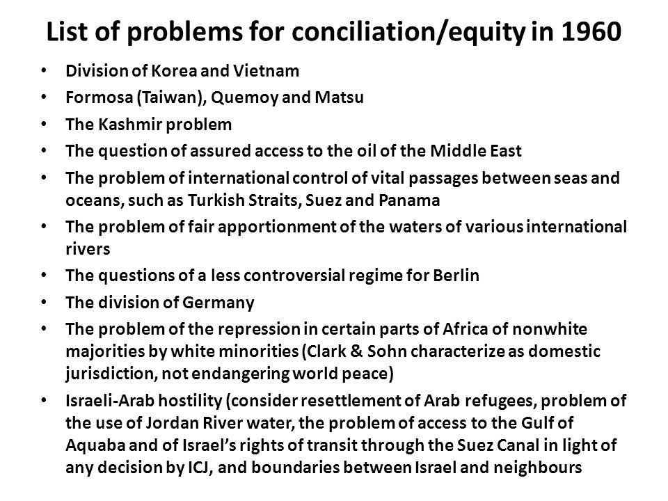 List of problems for conciliation/equity in 1960