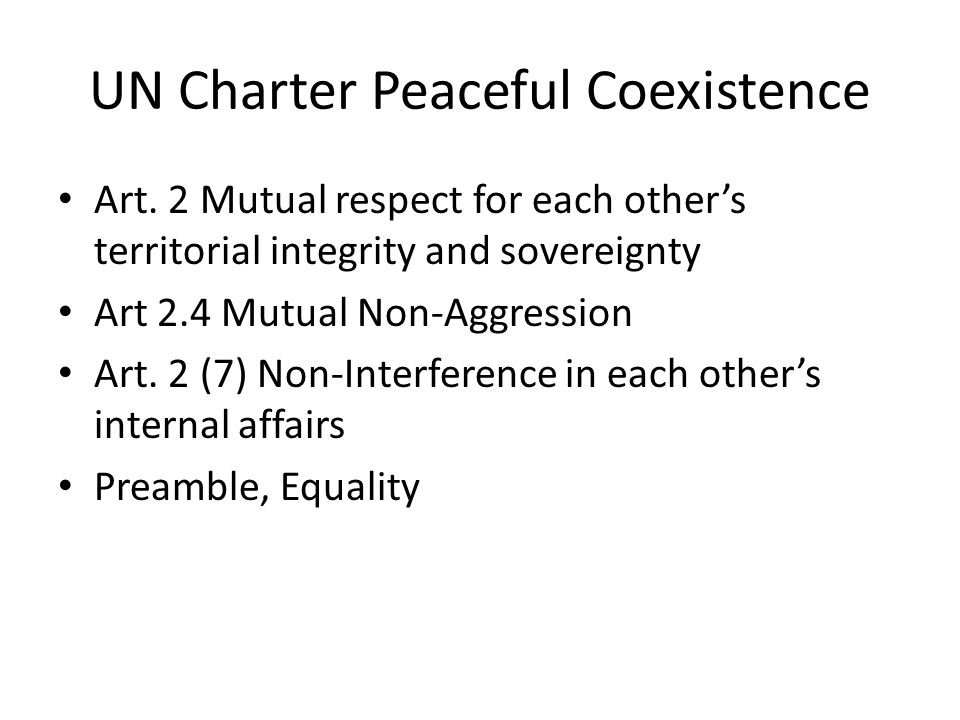 UN Charter Peaceful Coexistence