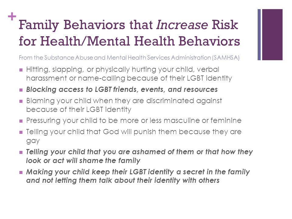 Family Behaviors that Increase Risk for Health/Mental Health Behaviors