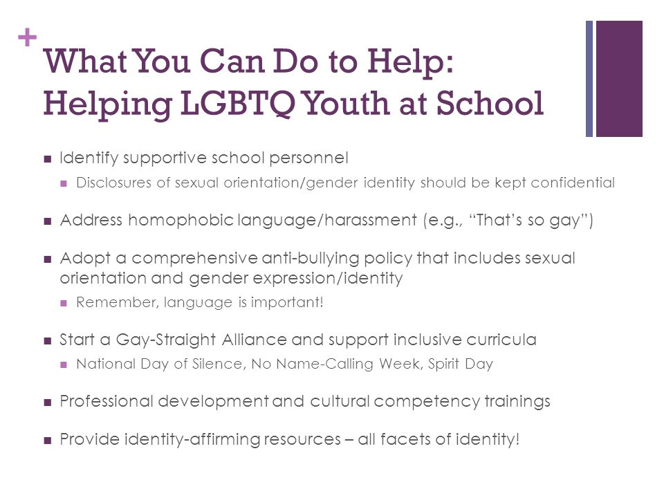 What You Can Do to Help: Helping LGBTQ Youth at School