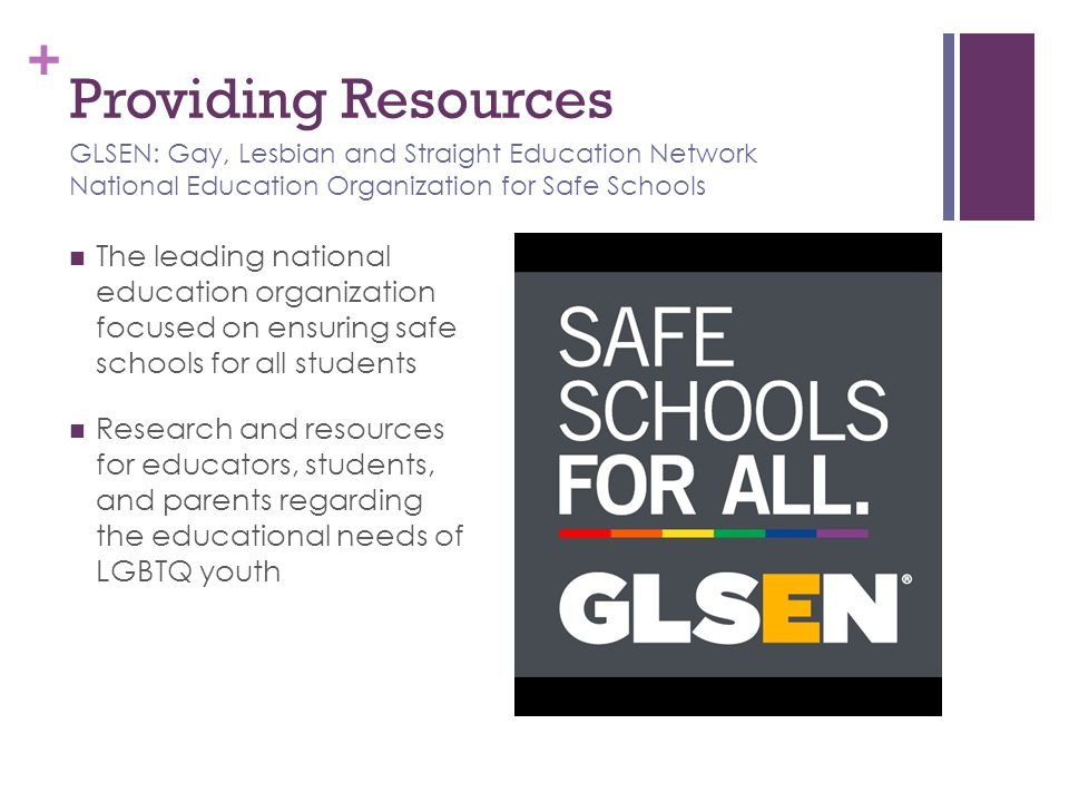 Providing Resources GLSEN: Gay, Lesbian and Straight Education Network National Education Organization for Safe Schools.
