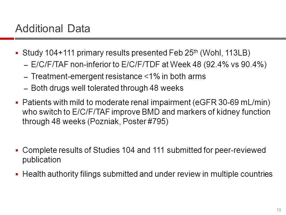 Additional Data Study 104+111 primary results presented Feb 25th (Wohl, 113LB) E/C/F/TAF non-inferior to E/C/F/TDF at Week 48 (92.4% vs 90.4%)