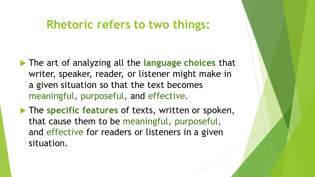 Rhetoric refers to two things: