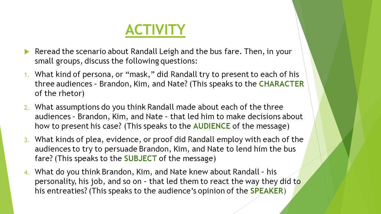 ACTIVITY Reread the scenario about Randall Leigh and the bus fare. Then, in your small groups, discuss the following questions: