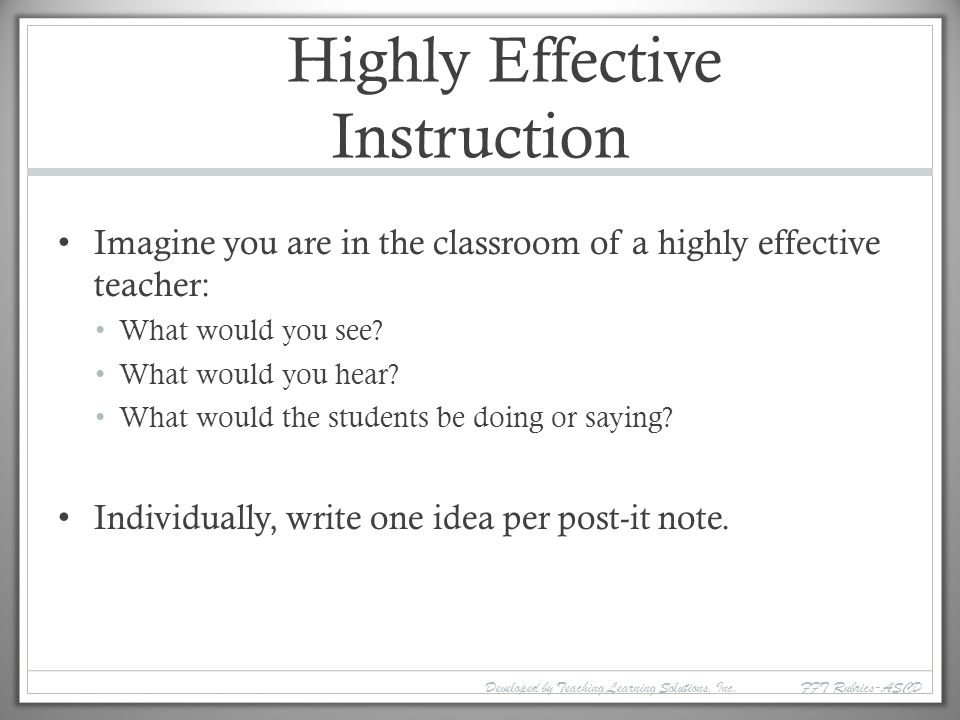 Highly Effective Instruction