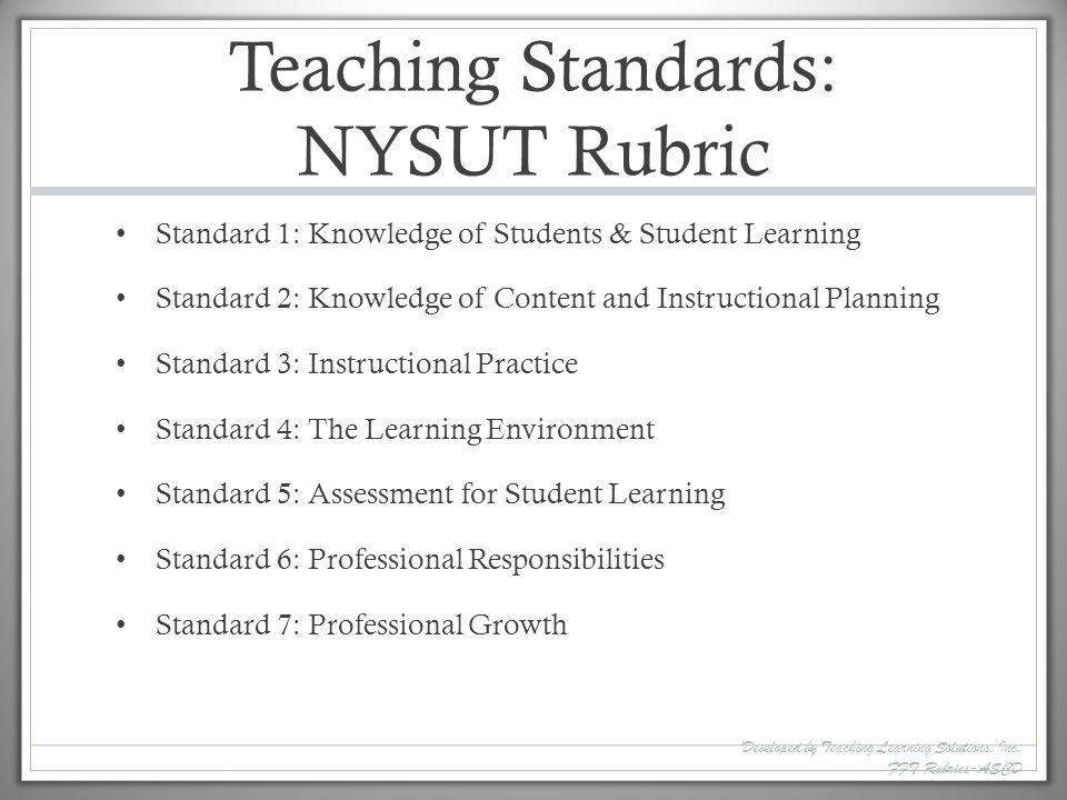 Teaching Standards: NYSUT Rubric