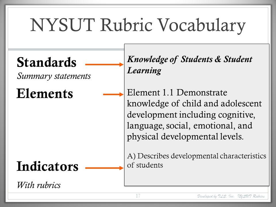 NYSUT Rubric Vocabulary