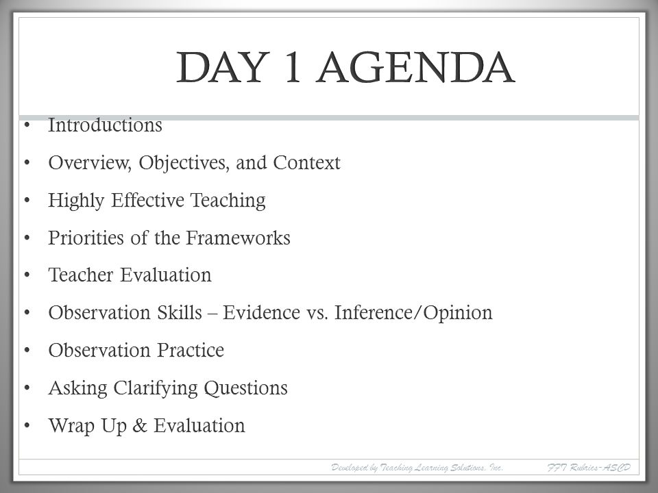 DAY 1 AGENDA Introductions Overview, Objectives, and Context