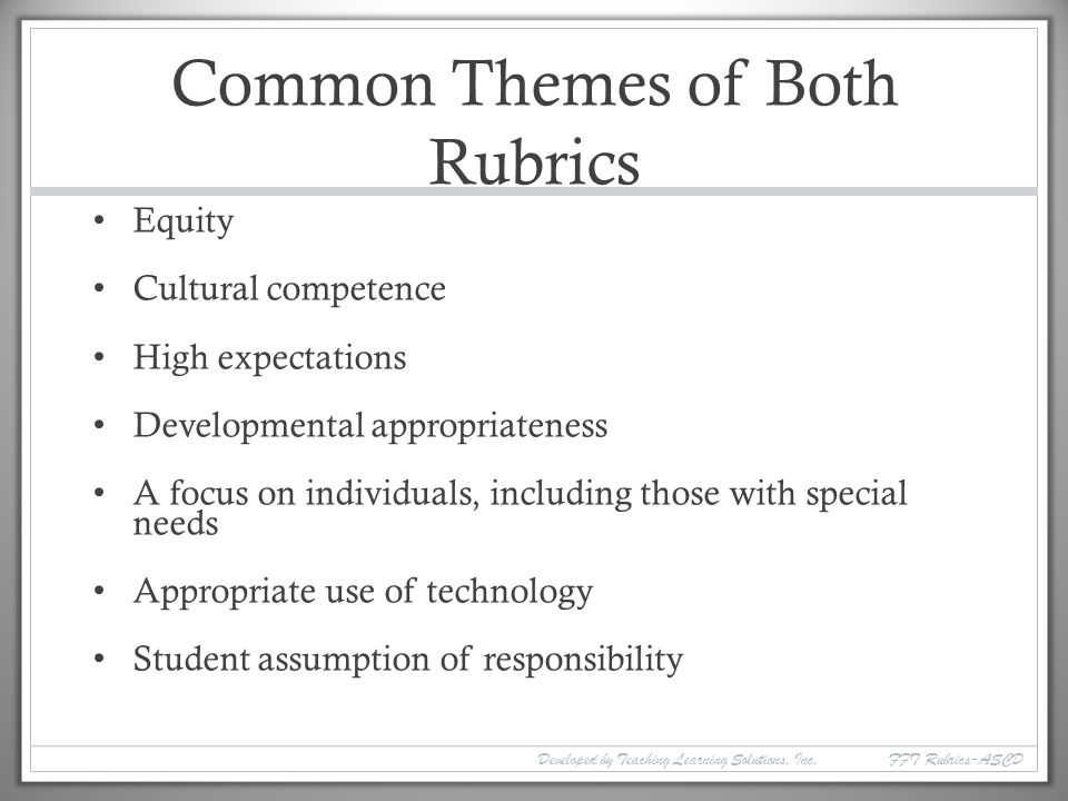 Common Themes of Both Rubrics