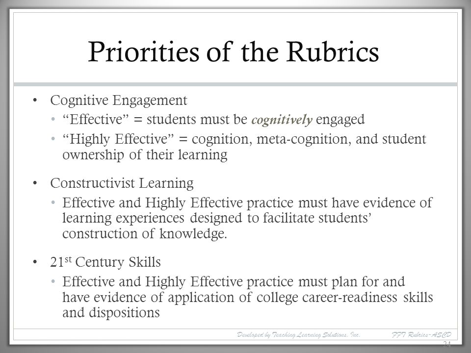 Priorities of the Rubrics
