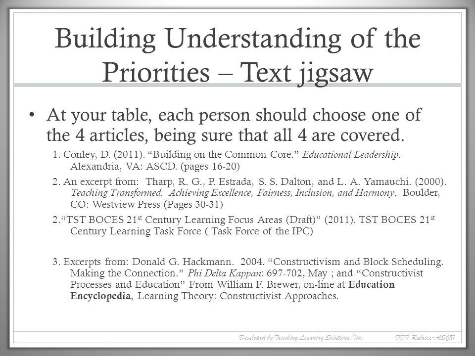 Building Understanding of the Priorities – Text jigsaw