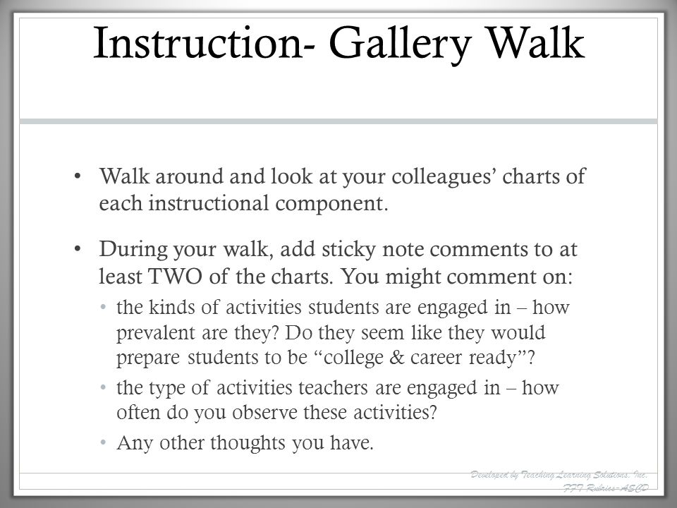 Instruction- Gallery Walk