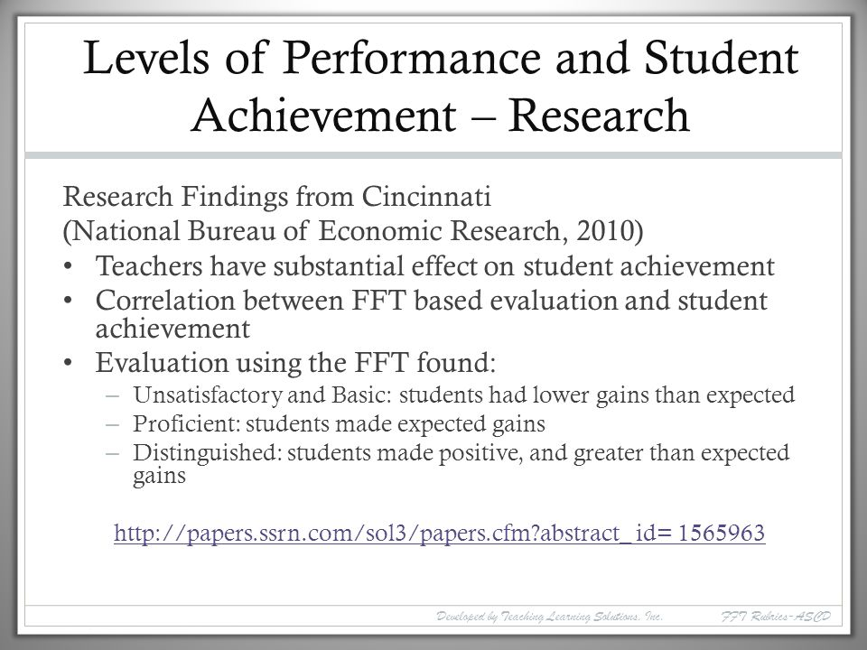 Levels of Performance and Student Achievement – Research