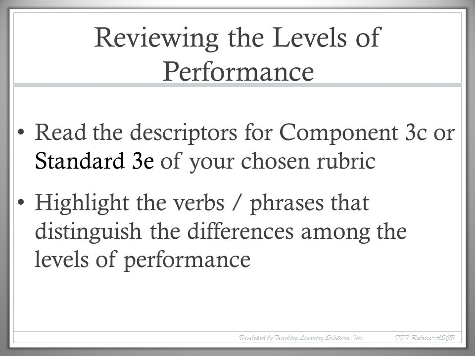Reviewing the Levels of Performance