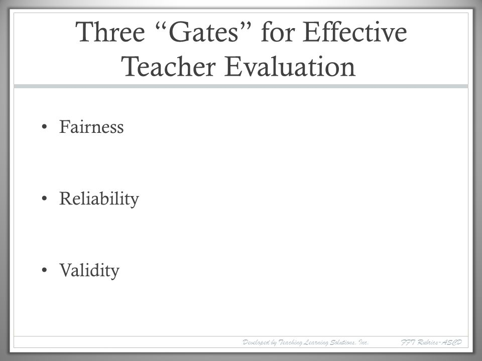 Three Gates for Effective Teacher Evaluation