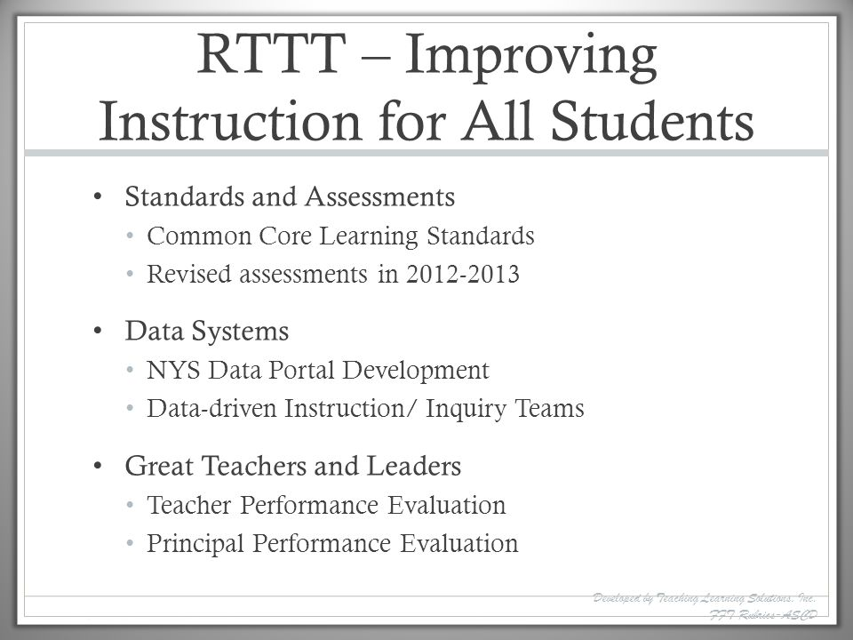 RTTT – Improving Instruction for All Students