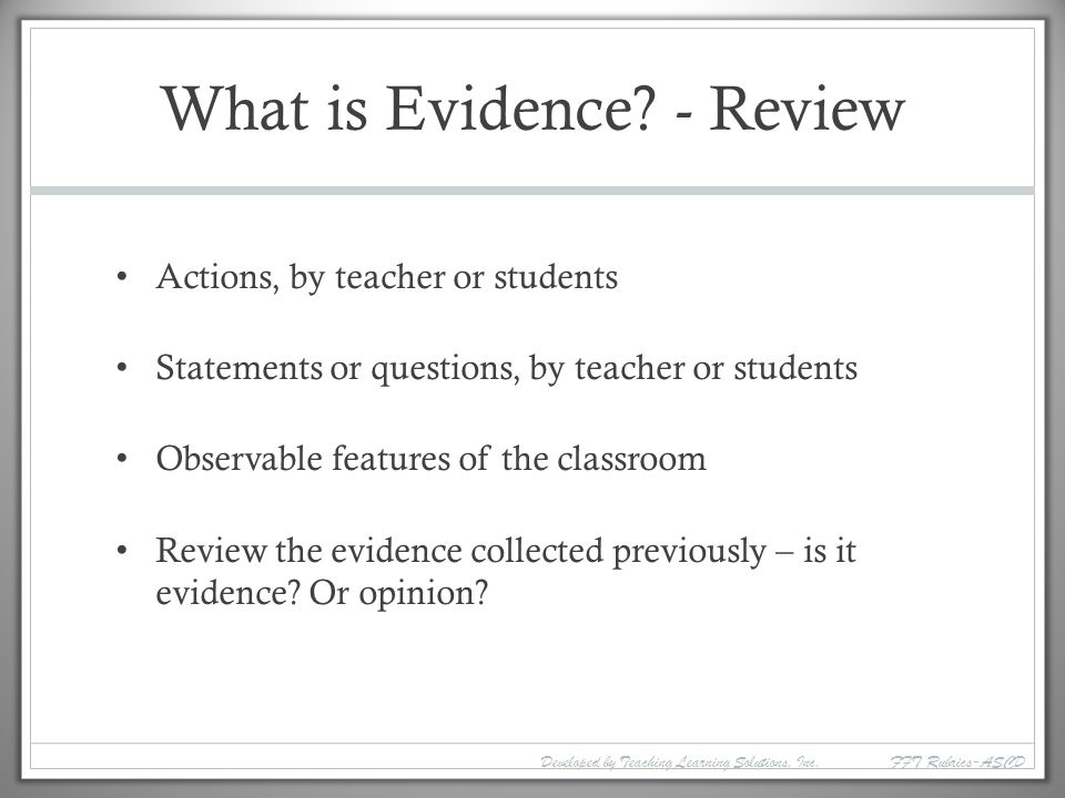 What is Evidence - Review