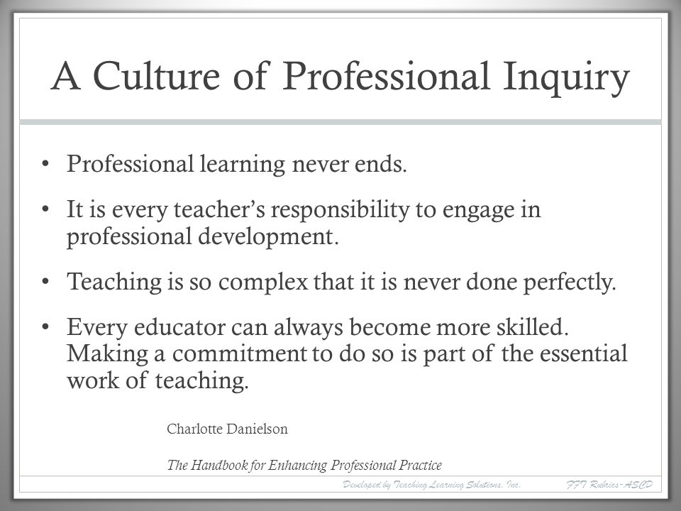A Culture of Professional Inquiry